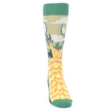 Image of Green Dragon Blowing Fire Men's Dress Socks (front-04)