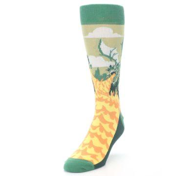 Image of Green Dragon Blowing Fire Men's Dress Socks (side-2-front-07)