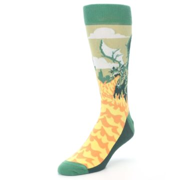 Image of Green Dragon Blowing Fire Men's Dress Socks (side-2-front-08)