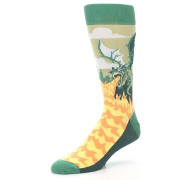 Image of Green Dragon Blowing Fire Men's Dress Socks (side-2-09)