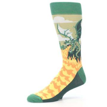 Image of Green Dragon Blowing Fire Men's Dress Socks (side-2-10)