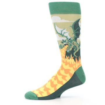 Image of Green Dragon Blowing Fire Men's Dress Socks (side-2-11)
