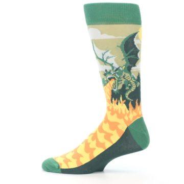Image of Green Dragon Blowing Fire Men's Dress Socks (side-2-12)