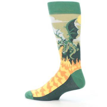Image of Green Dragon Blowing Fire Men's Dress Socks (side-2-13)