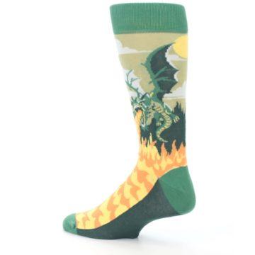 Image of Green Dragon Blowing Fire Men's Dress Socks (side-2-back-14)