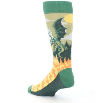 Image of Green Dragon Blowing Fire Men's Dress Socks (side-2-back-15)