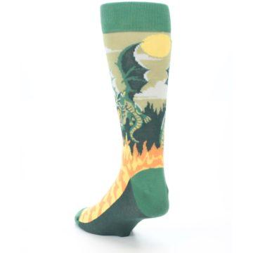 Image of Green Dragon Blowing Fire Men's Dress Socks (side-2-back-16)