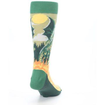 Image of Green Dragon Blowing Fire Men's Dress Socks (side-1-back-20)