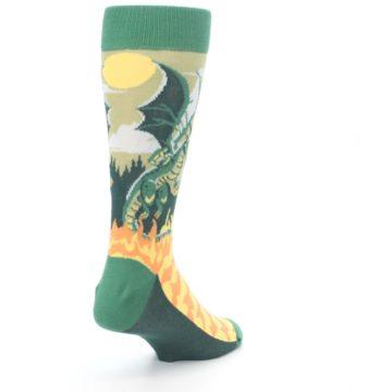 Image of Green Dragon Blowing Fire Men's Dress Socks (side-1-back-21)