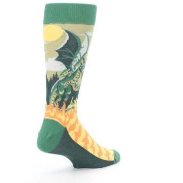 Image of Green Dragon Blowing Fire Men's Dress Socks (side-1-back-22)