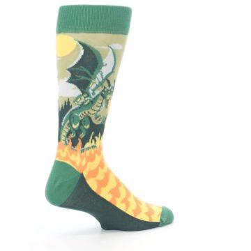 Image of Green Dragon Blowing Fire Men's Dress Socks (side-1-23)