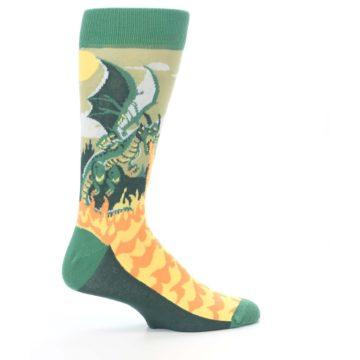 Image of Green Dragon Blowing Fire Men's Dress Socks (side-1-24)