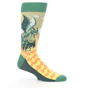 Image of Green Dragon Blowing Fire Men's Dress Socks (side-1-25)