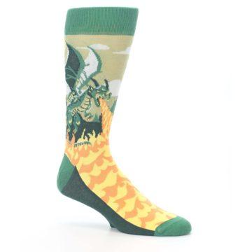Image of Green Dragon Blowing Fire Men's Dress Socks (side-1-26)