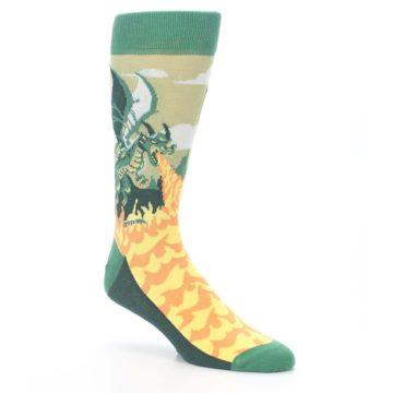 Image of Green Dragon Blowing Fire Men's Dress Socks (side-1-27)