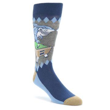Image of Gray Blue Pool Shark Men's Dress Socks (side-1-front-01)