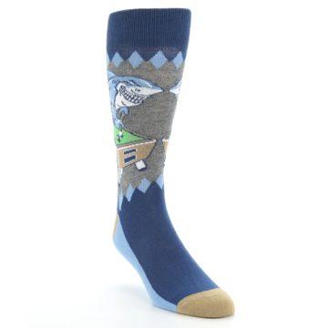 Image of Gray Blue Pool Shark Men's Dress Socks (side-1-front-02)