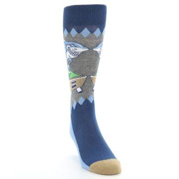 Image of Gray Blue Pool Shark Men's Dress Socks (side-1-front-03)