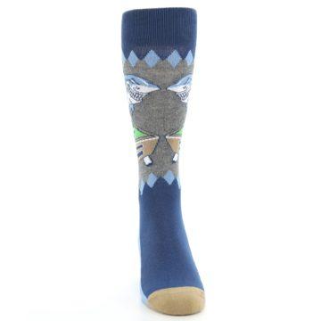 Image of Gray Blue Pool Shark Men's Dress Socks (front-04)