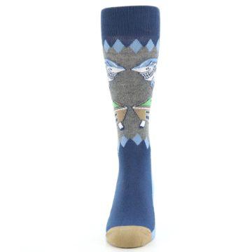 Image of Gray Blue Pool Shark Men's Dress Socks (front-05)