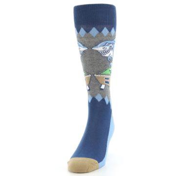 Image of Gray Blue Pool Shark Men's Dress Socks (side-2-front-06)