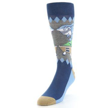Image of Gray Blue Pool Shark Men's Dress Socks (side-2-front-07)
