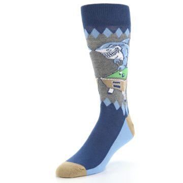 Image of Gray Blue Pool Shark Men's Dress Socks (side-2-front-08)