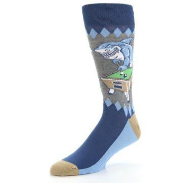 Image of Gray Blue Pool Shark Men's Dress Socks (side-2-09)