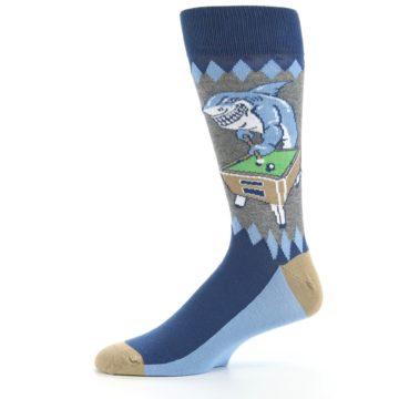 Image of Gray Blue Pool Shark Men's Dress Socks (side-2-11)