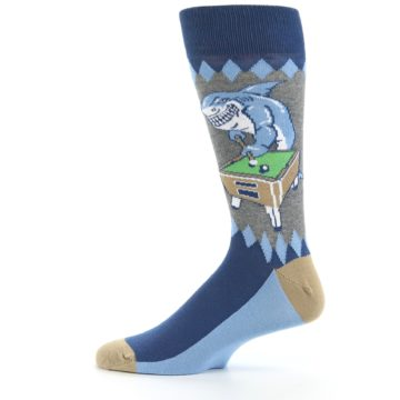Image of Gray Blue Pool Shark Men's Dress Socks (side-2-12)