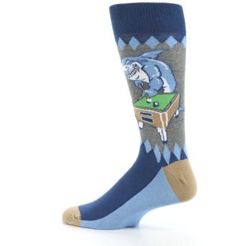 Image of Gray Blue Pool Shark Men's Dress Socks (side-2-13)