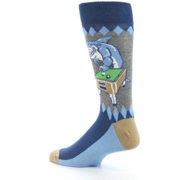 Image of Gray Blue Pool Shark Men's Dress Socks (side-2-back-14)