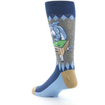 Image of Gray Blue Pool Shark Men's Dress Socks (side-2-back-15)