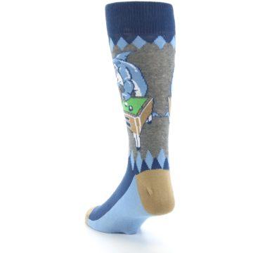 Image of Gray Blue Pool Shark Men's Dress Socks (side-2-back-16)