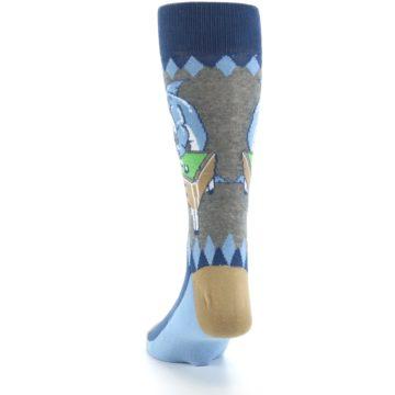 Image of Gray Blue Pool Shark Men's Dress Socks (back-17)