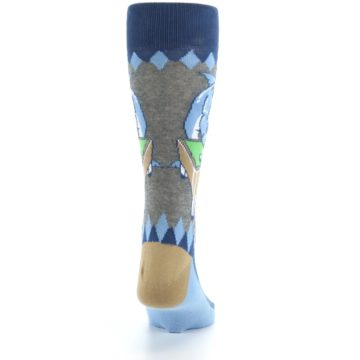 Image of Gray Blue Pool Shark Men's Dress Socks (back-19)