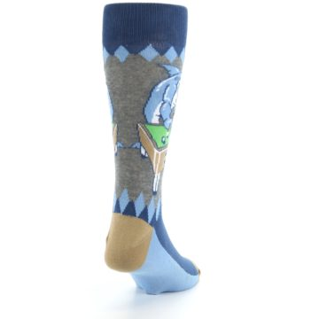 Image of Gray Blue Pool Shark Men's Dress Socks (side-1-back-20)