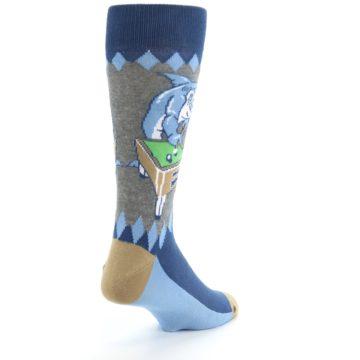 Image of Gray Blue Pool Shark Men's Dress Socks (side-1-back-21)