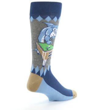 Image of Gray Blue Pool Shark Men's Dress Socks (side-1-back-22)