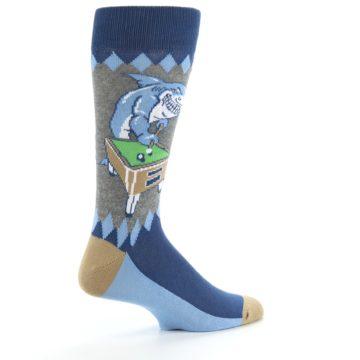 Image of Gray Blue Pool Shark Men's Dress Socks (side-1-23)