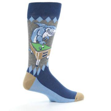 Image of Gray Blue Pool Shark Men's Dress Socks (side-1-24)
