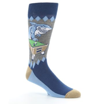 Image of Gray Blue Pool Shark Men's Dress Socks (side-1-26)