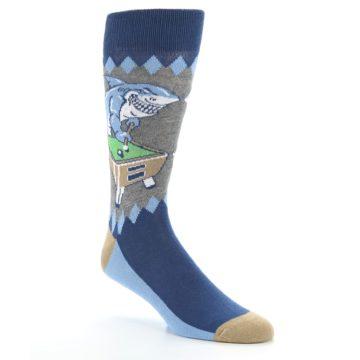 Image of Gray Blue Pool Shark Men's Dress Socks (side-1-27)