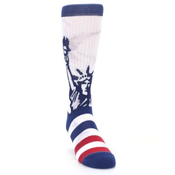 Image of White Blue Red Lady Liberty Men's Casual Socks (side-1-front-03)