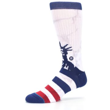 Image of White Blue Red Lady Liberty Men's Casual Socks (side-2-10)