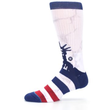 Image of White Blue Red Lady Liberty Men's Casual Socks (side-2-11)