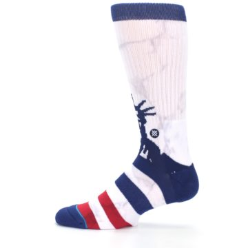 Image of White Blue Red Lady Liberty Men's Casual Socks (side-2-12)
