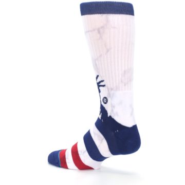 Image of White Blue Red Lady Liberty Men's Casual Socks (side-2-back-14)