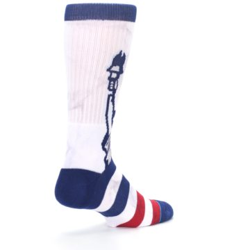 Image of White Blue Red Lady Liberty Men's Casual Socks (side-1-back-22)