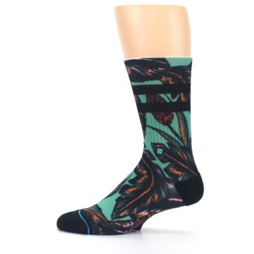 Image of Green Black Tropical Leaves Men's Casual Socks (side-2-12)